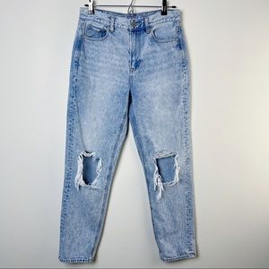 American Eagle High Rise Distressed Mom Jeans